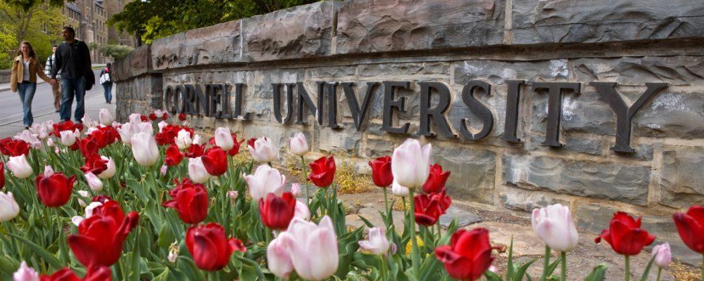 Students walk past Cornell University sign