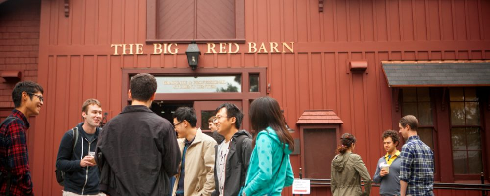 Students outside the Big Red Barn