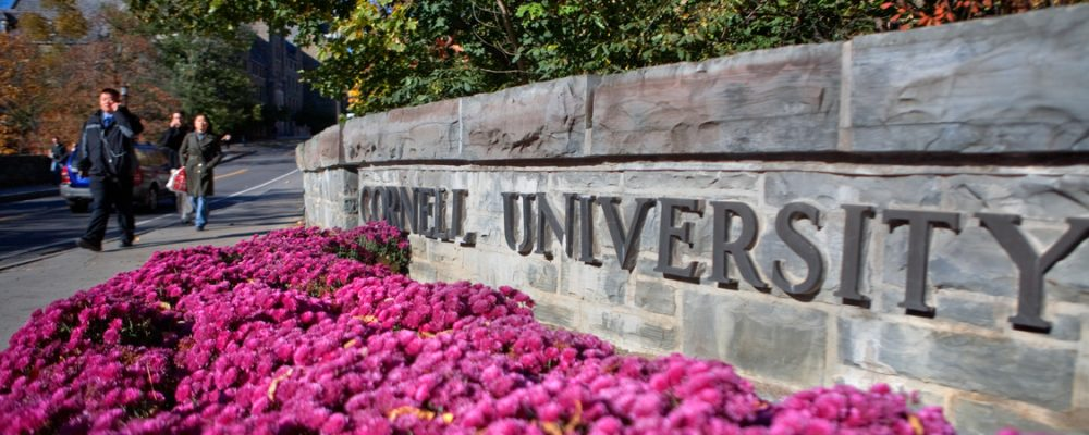 Students walking past Cornell University sign