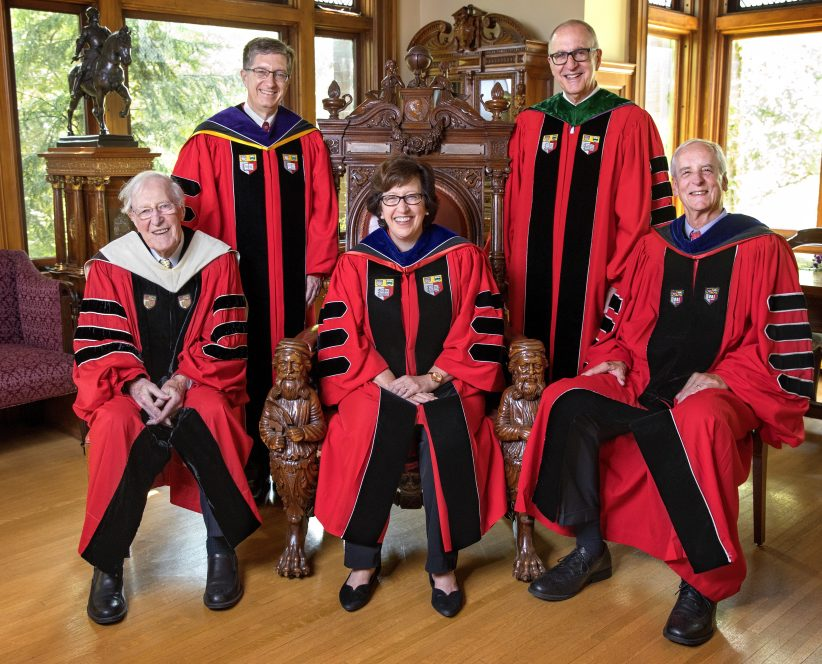 President Martha Pollack with four former Cornell University presidents