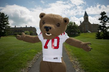 The Big Red Bear welcomes students to Cornell