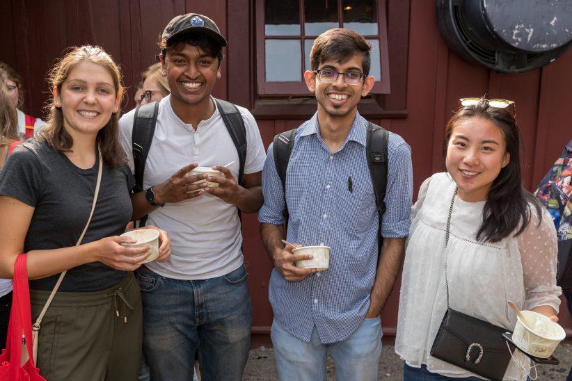 New graduate students enjoying ice cream at the Graduate School's Ice Cream Social