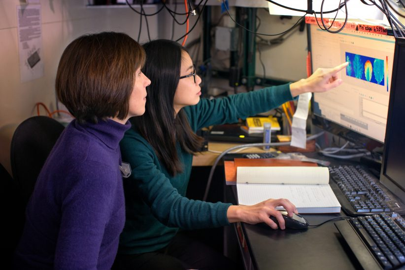 Professor Olena Vatamaniuk (CSS) and postdoc Ju-Chen Chia study rice plants by photographing them in the x-ray beam line at the Cornell High-Energy Synchrotron Source (CHESS).