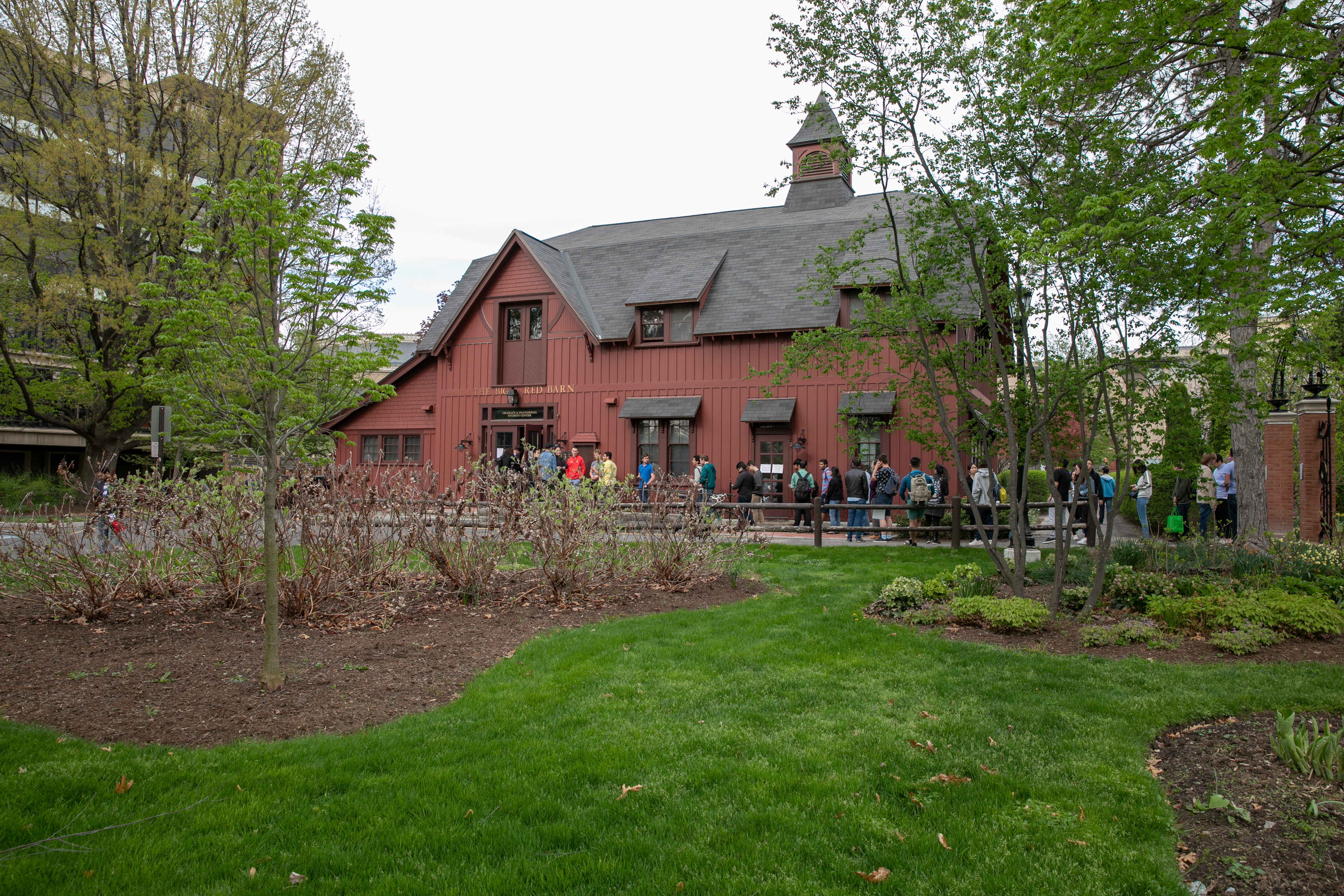 Students and postdocs line up outside the Big Red Barn for a year-end barbecue