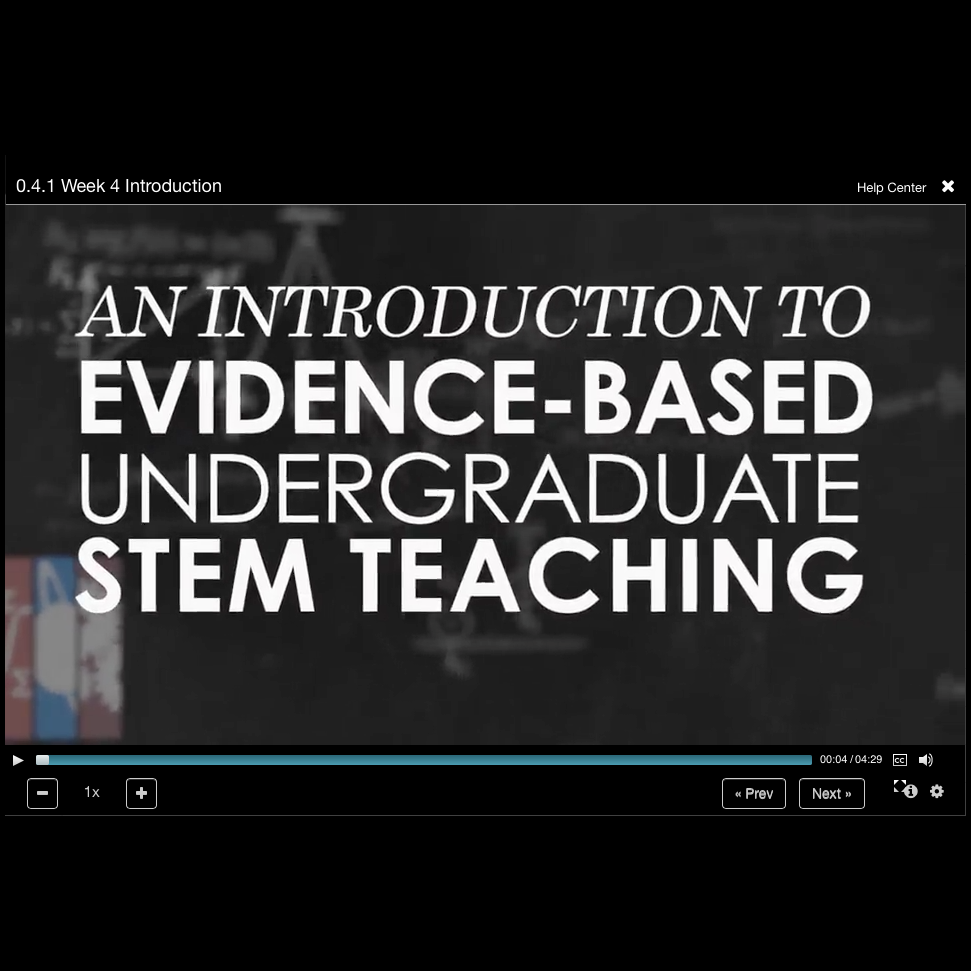 Still image from video, reading An Introduction to Evidence-Based Undergraduate STEM Teaching