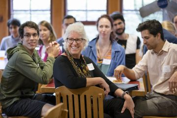 Dean Barbara Knuth with students at the NSF Graduate Reception