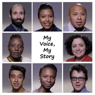 Headshots of 8 graduate students with the text My Voice, My Story