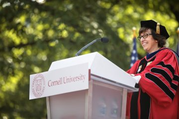 President Pollack speaks at her inauguration.