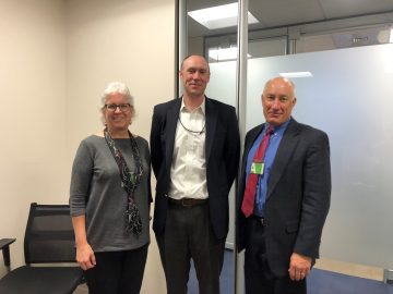 Barbara A. Knuth, dean of the Graduate School; Aaron Ray, OMB examiner; and Doug Austen, executive director of the American Fisheries Society.