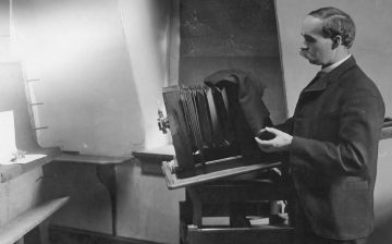 George Atkinson photographing mushrooms