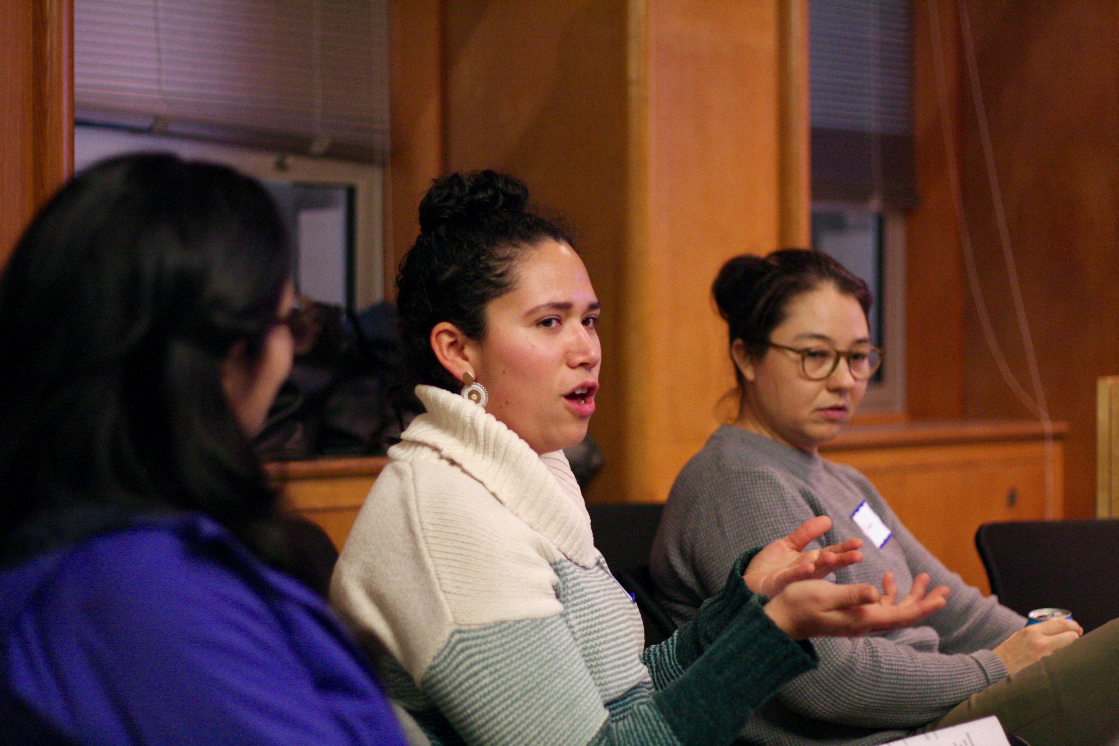 Postdoc Ana Maria Porras makes a point at the December 2018 NextGen Professors Meeting