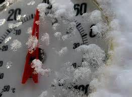 Snow-covered thermometer