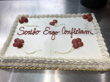 "Cake with inscription ""Scribo Ergo Conficiam"" (""I write therefore I finish"")"