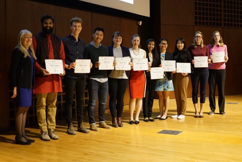 Finalists for 3MT 2019 with Associate Dean Jan Allen. From left: Teddy Yesudasan (1st), Robert Swanda, Jeffrey Pea (honorable mention), Maria Sapar, Pamela Meyerhofer (People's Choice), Ashwariya Lahariya, Michelle Duong (honorable mention), Shao-Pei Chou (2nd place), Cassandra Benson, and Katherine Adler. Credit: Phil Wilde