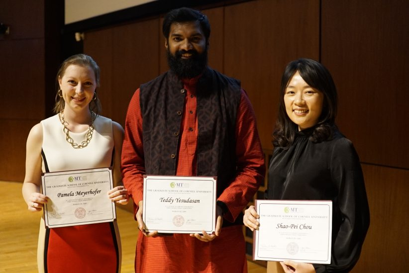 3MT 2019 winners (from left): Pamela Meyerhofer (People's Choice), Teddy Yesudasan (1st place), and Shao-Pei Chou (2nd place). Credit: Phil Wilde