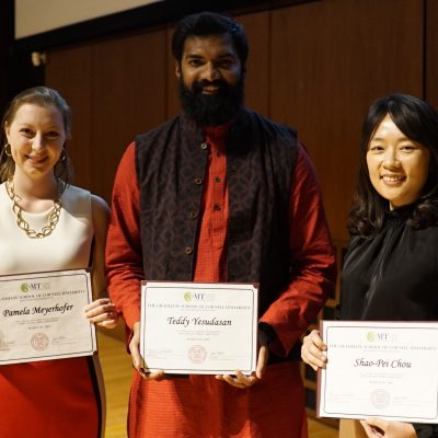 3MT 2019 winners: Pamela Meyerhofer (People's Choice), Teddy Yesudasan (1st place), and Shao-Pei Chou (2nd place).