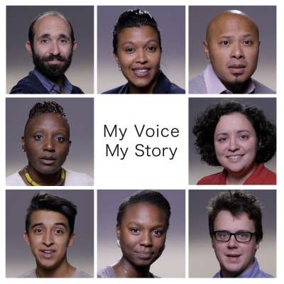 Headshots of eight graduate students and My Voice, My Story title