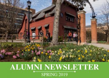 Alumni Newsletter Spring 2019, people walking past Big Red Barn