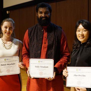 3MT 2019 winners: Pamela Meyerhofer (People's Choice), Teddy Yesudasan (1st place), and Shao-Pei Chou (2nd place).