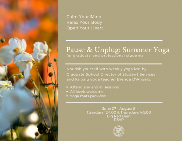 Flyer for Pause & Unplug: Summer Yoga. All text found in page content.