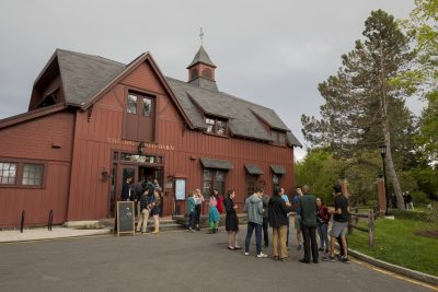 Students in front of the Big Red Barn