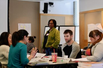Derina Samuel, Center for Teaching Innovation, supports group work at the 2019 inclusive teaching institute