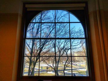 Window overlooking Cornell quad