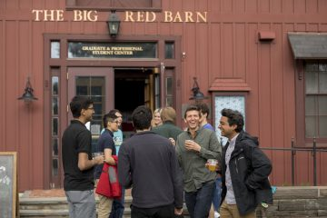 Students at the Big Red Barn summer BBQ