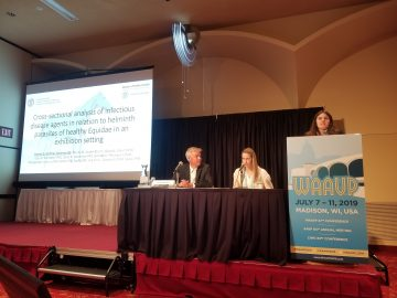 Hayley Hofmar-Glennon presenting at the World Association of Veterinary Parasitologists conference.