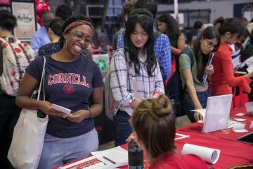 Students at the 2019 Orientation resource fair.