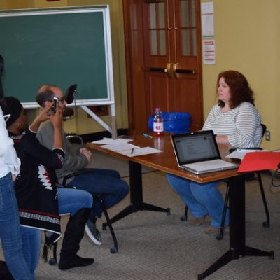 Careers Beyond Academia/BEST participants practice being interviewed about their research in a communication workshop.