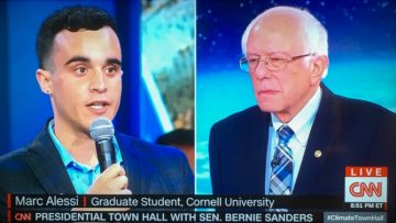 Marc Alessi questioning Bernie Sanders at Presidential Town Hall