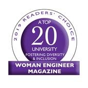 Woman Engineer Magazine Top 20 University seal