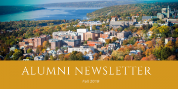 "Aerial view of Cornell and Cayuga Lake with text, ""Alumni Newsletter Fall 2019"""