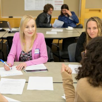 Lauren Genova participates in a discussion on assessing student learning