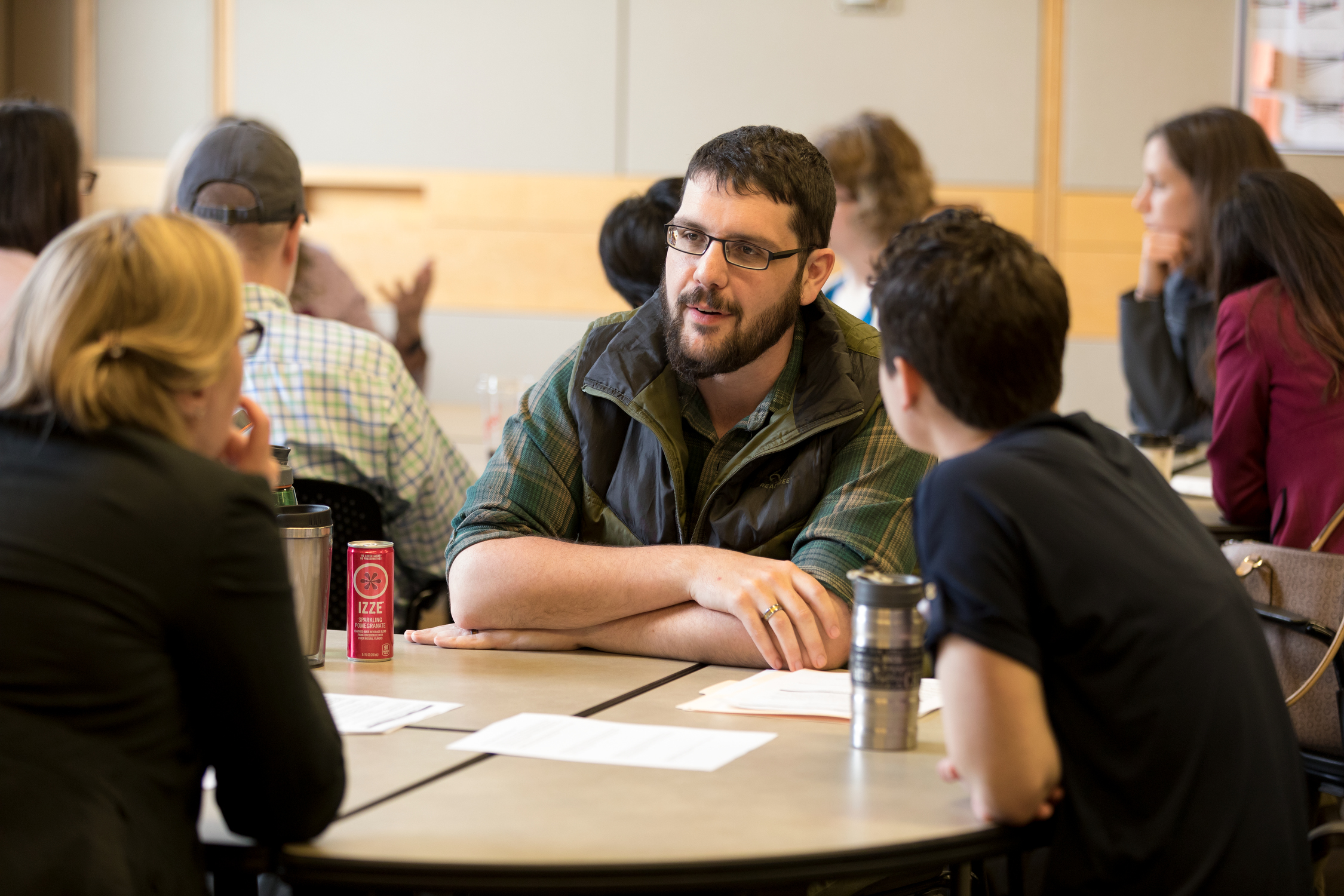 Graduate Student Eugene Law leads a small group discussion about mentoring strategies