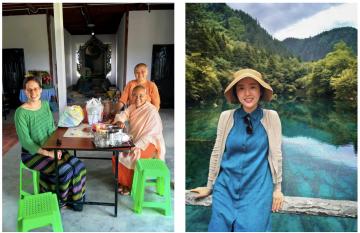 Left: Mary-Kate Long with Sayalay Aggawadi and Sayalay Cala Theri at their new nunnery. Right: Jiwon Baik.