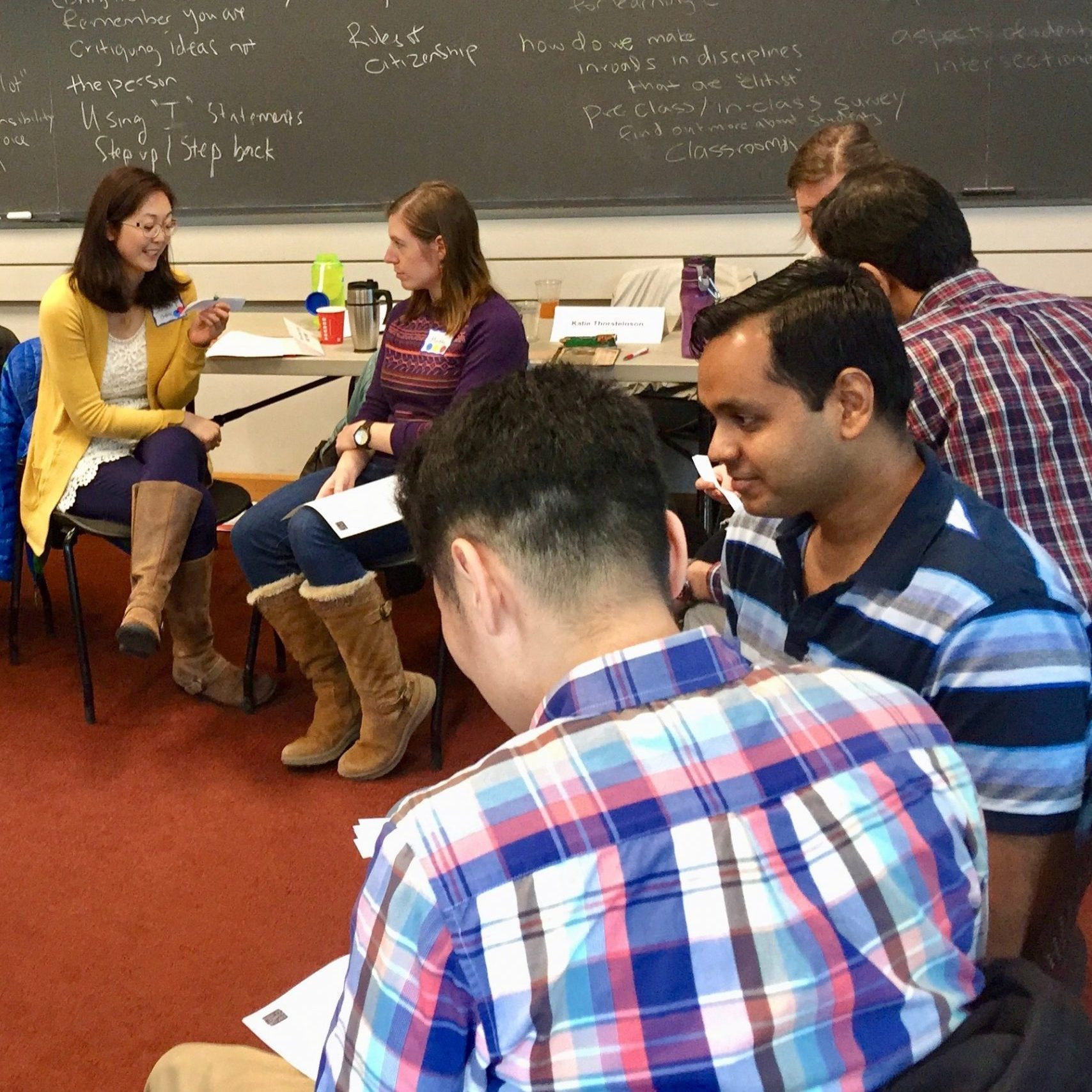 Graduate and postdoctoral participants in the Inclusive Teaching Institute 2018 practice intergroup dialogue skills