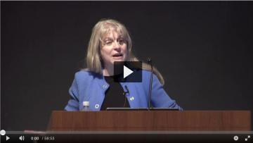 First frame of video of Associate Dean Jan Allen presenting on fellowships.