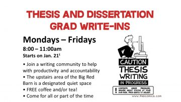 Monday to Friday, 8:00am to 11:00am starting January 21. • Join a writing community to help with productivity and accountability • The upstairs area of the Big Red Barn is a designated quiet space • FREE coffee and/or tea! • Come for all or part of the time