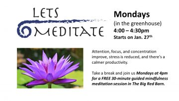 Let's Meditate! Mondays (in the greenhouse) 4:00 – 4:30pm Starts on Jan. 27th. Attention, focus, and concentration improve, stress is reduced, and there's a calmer productivity. Take a break and join us Mondays at 4pm for a FREE 30-minute guided mindfulness meditation session in The Big Red Barn.