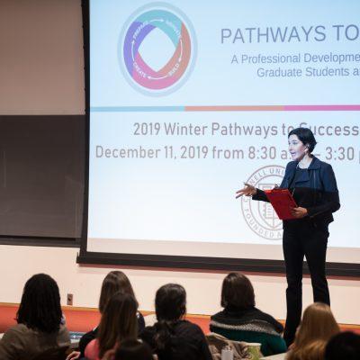 Eliza VanCort presents a workshop at the Winter 2019 Pathways to Success Symposium
