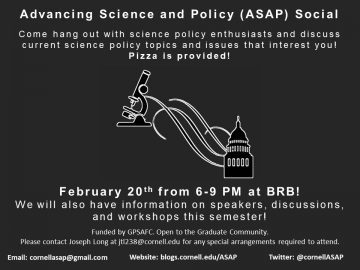 Come hang out with science policy enthusiasts and discuss current science policy topics and issues that interest you! Pizza is provided. We will also have information on speakers, discussions, and workshops this semester!