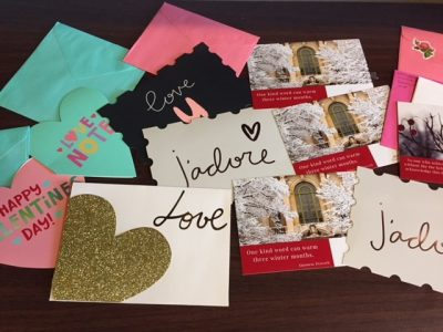 Valentine cards and gratitude postcards from a gratitude event at TGIF