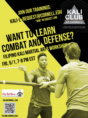 """Want to learn Combat and Defense? Join our trainings: kali-l-request@cornell.edu, """"join"""" in the subject line."""