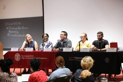Colleen McLinn leads a student panel at the 2019 Summer Success Symposium