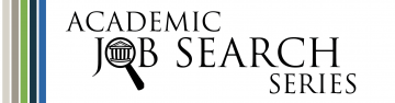 Academic Job Search Series logo with a magnifying glass over a university building