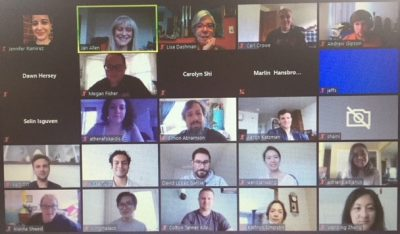 Screen grab of participants in Associate Dean Jan Allen's Productive Writing Zoom workshop