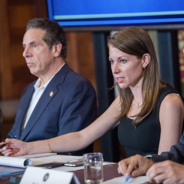 Melissa DeRosa with Governor Andrew Cuomo
