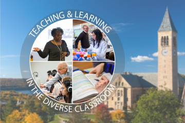 Teaching and Learning in the Diverse Classroom logo with images of faculty over a Cornell campus image